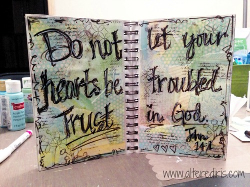 mixed media scripture art journal