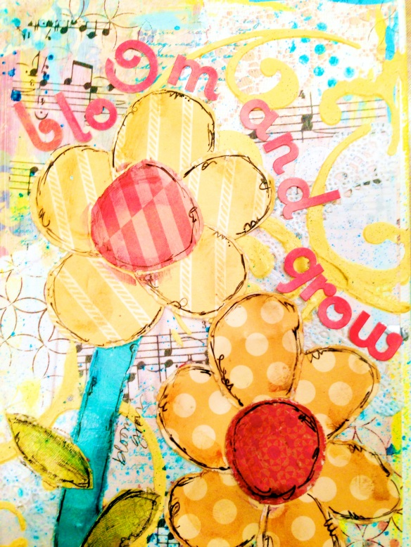bloom and grow mixed media art